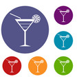 beach cocktail icons set vector image vector image