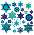 blue gold jewish star clipart vector image vector image