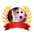 bowing award sport banner background ball vector image vector image