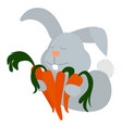 bunny with carrots on white background vector image vector image