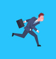business man running hold suitcase male office vector image