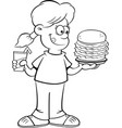cartoon girl holding a large hamburger and a drink vector image vector image