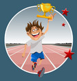 cartoon male athlete running with prize winning vector image vector image
