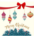 christmas card with baubles and fir branches vector image