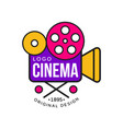 colorful cinema or movie company logo design with vector image