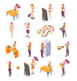 diet woman isometric icons vector image vector image