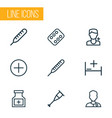drug outline icons set collection of temperature vector image vector image
