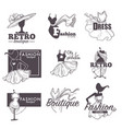fashion dress boutique sketch retro icons vector image