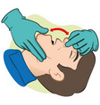 First aid person opening mouth clearing airway