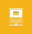 flat laptop isolated on color background vector image vector image