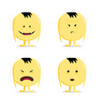 funny cartoon yellow character set vector image vector image