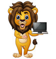 funny lion cartoon presenting a laptop vector image