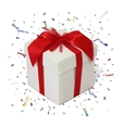 Gift box on white background with confetti vector image vector image