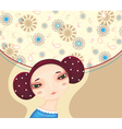 Girl Face Flower Cover vector image