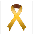 Gold ribbon on white background vector image vector image