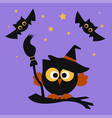 halloween set with owl vector image