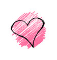 hand drawn pencil scribble hearts vector image