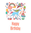 happy birthday holiday card with sweets stars vector image vector image