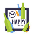 happy hours in bar or pub isolated icon craft vector image vector image