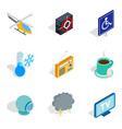 inscription icons set isometric style vector image vector image