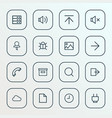 interface icons line style set with audio vector image vector image
