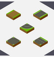 isometric road set of footpath unilateral vector image vector image