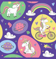 magic seamless pattern with unicorn vector image