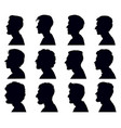 male profile face silhouette adult men anonymous vector image