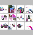 minimal brochure templates with pink color circles vector image vector image