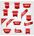 new labels newest product red banner ribbons vector image vector image