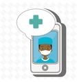 nurse crooss smartphone graphic vector image vector image