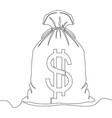 one continuous line drawing money bag vector image