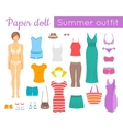 Paper doll girl with summer clothes game vector image vector image