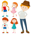 People in different posts vector image vector image