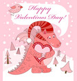 Pink dragon with heart vector image vector image