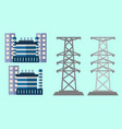 power plant with electric pole vector image vector image
