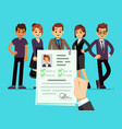 recruitment recruiter choosing candidates with vector image vector image