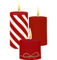 red candles with fire on white background vector image