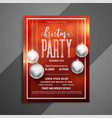 red christmas shiny flyer with silver xmas balls vector image vector image
