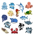 Sea and ocean animals fish cartoon icons vector image vector image