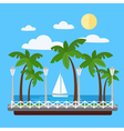 Seaside Promenade with Palm Trees and Yacht vector image vector image