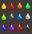 set of drops of various colors of liquid vector image vector image