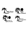 set summer beach silhouette logo vector image