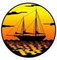 ship at sunset vector image