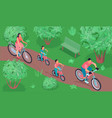 sports family riding bicycle vector image vector image