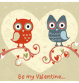 Valentine love card with cute romantic owls vector | Price: 1 Credit (USD $1)