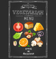 vegetarian menu on chalkboard vintage drawn menu vector image vector image