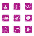 voluntary donation icons set grunge style vector image vector image