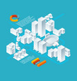 white isometric buildings urban 3d landscape with vector image