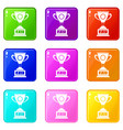 winner cup icons 9 set vector image vector image